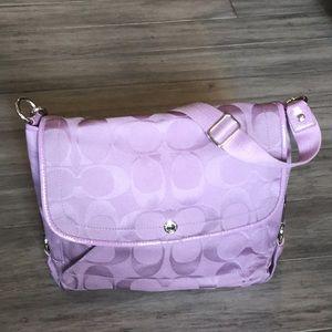 COACH lavender flap closure shoulder bag